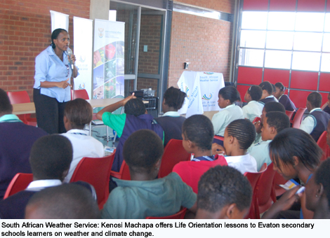 South African Weather Service: Kenosi Machapa offers Life Orientation lessons to Evaton secondary schools learners on weather and climate change